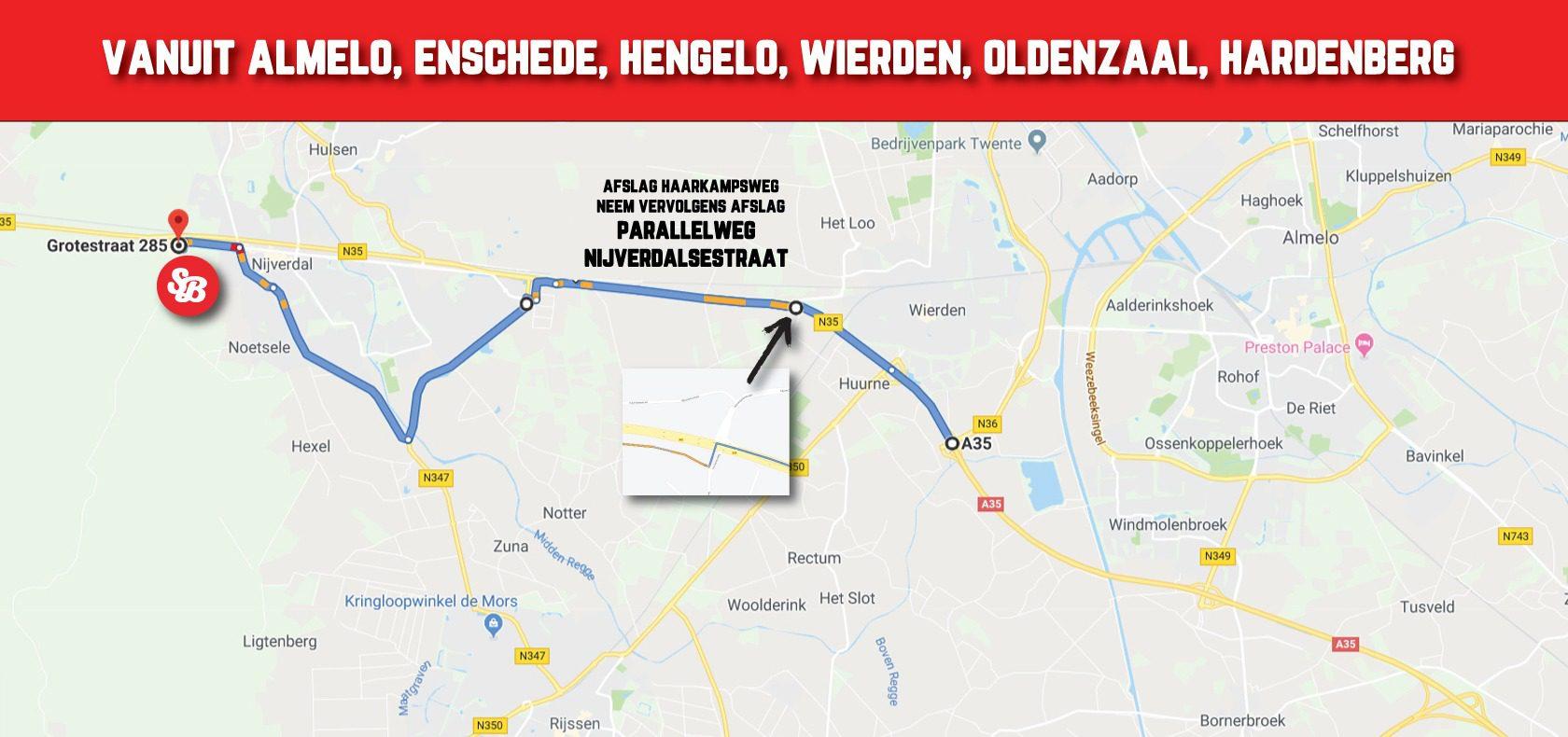 Omleiding-Almelo-Enschede-Hengelo-Hardenberg-Oldenzaal